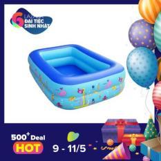 Bể bơi kiêm Nhà bóng chữ nhật Tặng bơm hơi cho trẻ cao 35cm (120 x 85cm)