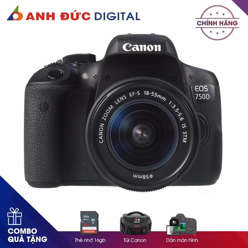 Máy ảnh Canon EOS 750D Lens KIT 18-55mm – Hàng phân phối chính hãng + Thẻ nhớ 16Gb + Túi máy ảnh + Dán màn hình