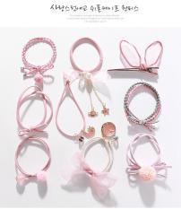 Set 9 dây buộc tóc Hàn Quốc kèm túi cao cấp