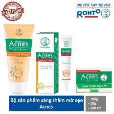 Bộ sản phẩm sáng thâm mờ sẹo Acnes (Acnes Vitamin Cleanser 100g + Acnes Scar and Spot Clear 10g + Acnes Oil Remover Paper 100 tờ)