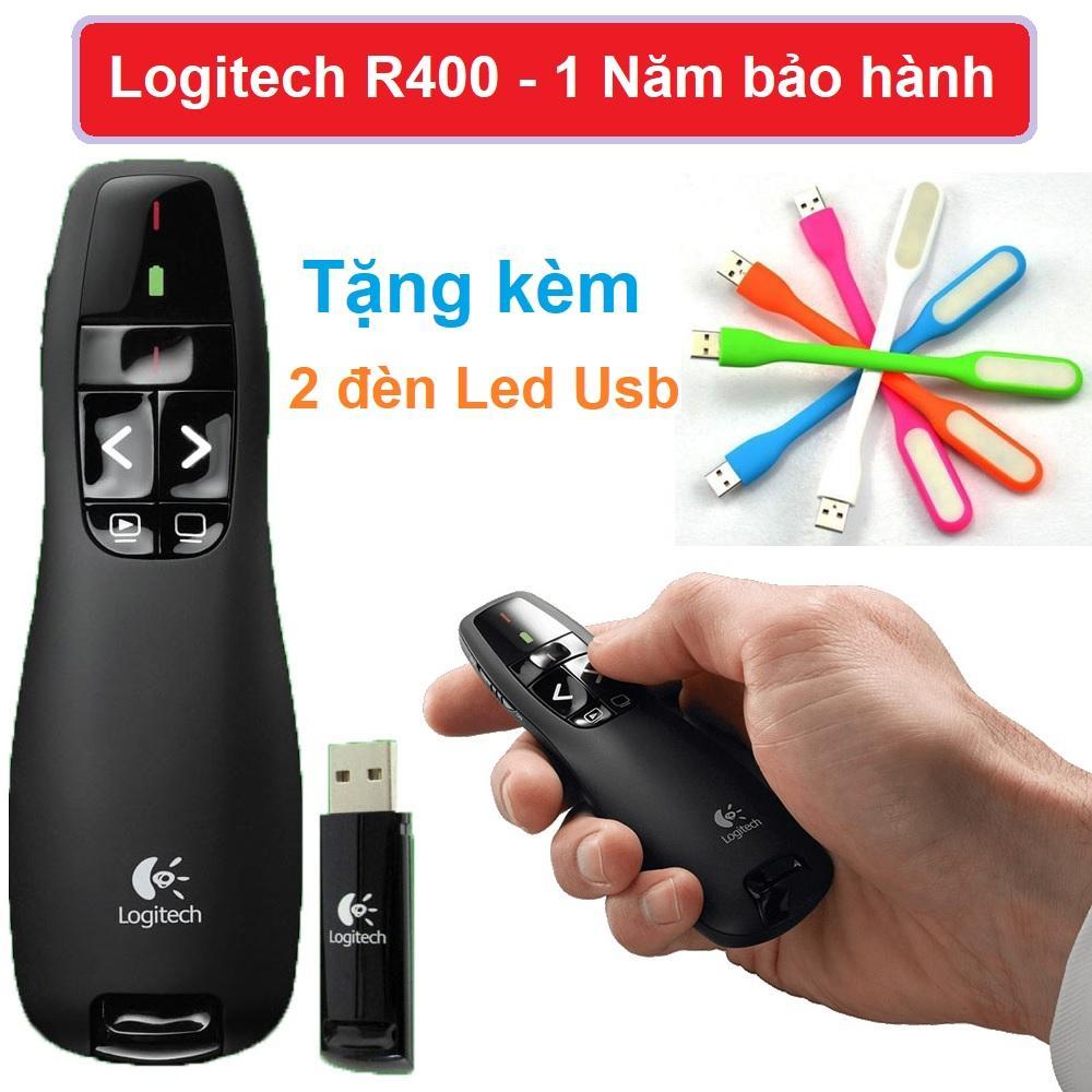 Bút trình chiếu Logiteh R400 + Bao bảo vệ Bảo hành 1 năm – 1 Đổi 1 Tặng kèm 2 đèn Led Usb Mini siêu sáng