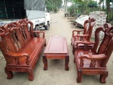 Bộ bàn ghế gỗ phòng khách minh quốc đào gỗ hương vân