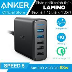 Sạc ANKER PowerPort Speed 5 cổng 63w với 2 cổng Quick Charge 3.0 (Đen) – Hãng Phân Phối Chính Thức