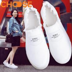 Giày Lười Nữ Đế Slip-on Đẹp Màu Trắng Cách Điệu Phong Cách Thu Đông 2402