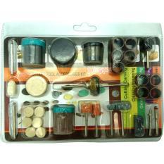 Bộ 105 món đồ nghề phụ kiện cắt, mài, chà, đánh rỉ sét, đánh bóng cho khoan điện đa năng mini cầm tay (như Louxor, Dremel, ACZ, motor 775…)