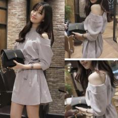 Váy đầm dự tiệc chữ A hở vai thắt đai lưng dễ thương xinh đẹp DN142 Letter A