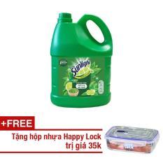 Nước rửa chén Sunlight Trà Nhật chai 3.8kg + Tặng 1 hộp Happy Lock