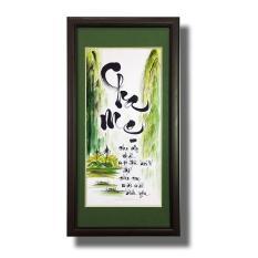 Tranh thư pháp – Chữ Cha Mẹ 05 – Tranh Minh Hiền (viết và vẽ tay hoàn toàn)
