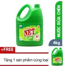 Nước rửa chén NET Đậm Đặc Hương Trà Xanh 4kg TẶNG 1 sản phẩm cùng loại [ NETCO – NRC VN 11 ]