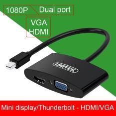 Mini displayport/Thunderbolt to HDMI + VGA converter 1080P 25Cm UNITEK Y-6328BK – Hỗ trợ chuyển tín hiệu từ Macbook Pro; Macbook Air; Mac Mini; Imac – Dell XPS; Thinkpad; Surface book ra TVHD, Máy chiếu HD/VGA, Màn hình LCD