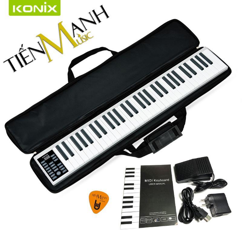 Đàn Piano Điện Konix 61 phím cảm ứng lực Flexible PZ61 – Midi Keyboard Controllers (Bàn Phím Bảng Pin sạc 1100mAh – Phần mềm và Hướng dẫn Tiếng Việt – Tặng móng gẩy Tiến Mạnh Music – Tặng bao đựng)