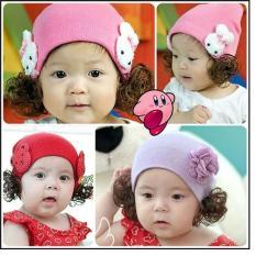 Mũ len có tóc giả cho bé từ 6 tháng-3 tuổi (giao màu ngẫu nhiên)