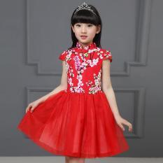 Trung quốc Phong Cách Trẻ Em Đầm Bé Gái In Hoa Đầm Trẻ Em Sườn Xám Phong Cách Đầm Trẻ Em Chipao Đầm-quốc tế