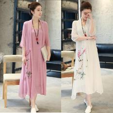 Mùa Xuân Và Mùa Hè Năm 2019 Mẫu Mới Kích Thước Quần Áo Nữ Hai Mảnh Phong Cách Trung Quốc Bông Lỏng Hoa In Bông Dài Váy Liền
