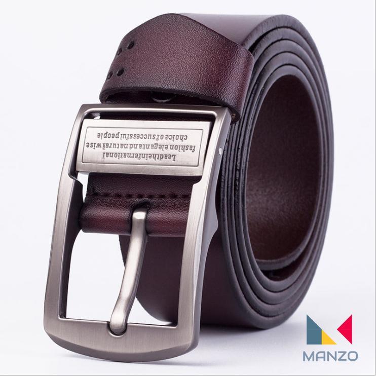 Dây nịt- Thắt lưng nam da bò THẬT 100% khóa kim chữ cao cấp Manzo 101, BH 1 năm