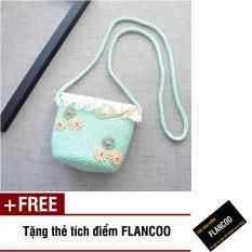 Túi đeo chéo bé gái chất liệu cói dễ thương Flancoo 0291 (Xanh ngọc) + Tặng kèm thẻ tích điểm Flancoo