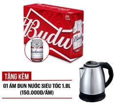 Budweiser lon 330ml – Thùng 24 Tặng kèm 01 ấm đun nước siêu tốc 1.8L