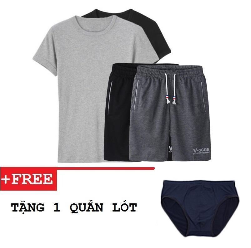 Combo 2 bộ áo thun thể thao nam cổ tròn và quần short thun V-OGUE + 1 quần lót tặng...