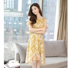 váy hàn quốc dự tiệc cao cấp tôn dáng màu vàng vải voan đường may chuẩn