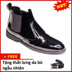 Giày Chelsea boot nam đẹp cổ chun da bóng CB520 (TL)