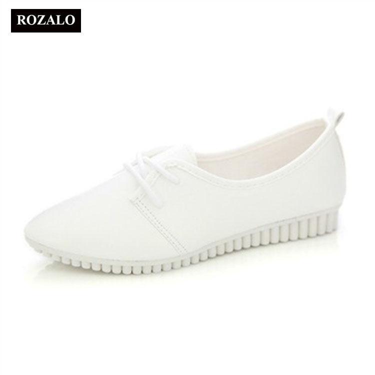 Giày Oxford nữ mũi nhọn dây buộc Rozalo RW3326
