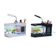 Bể cá Mini Kiêm đồng hồ để bàn , hộp đựng bút, điện thoại (Trắng Đen)