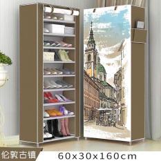 Tủ để giày dép 9 tầng bằng vải cao cấp họa tiết 3D (Nâu)