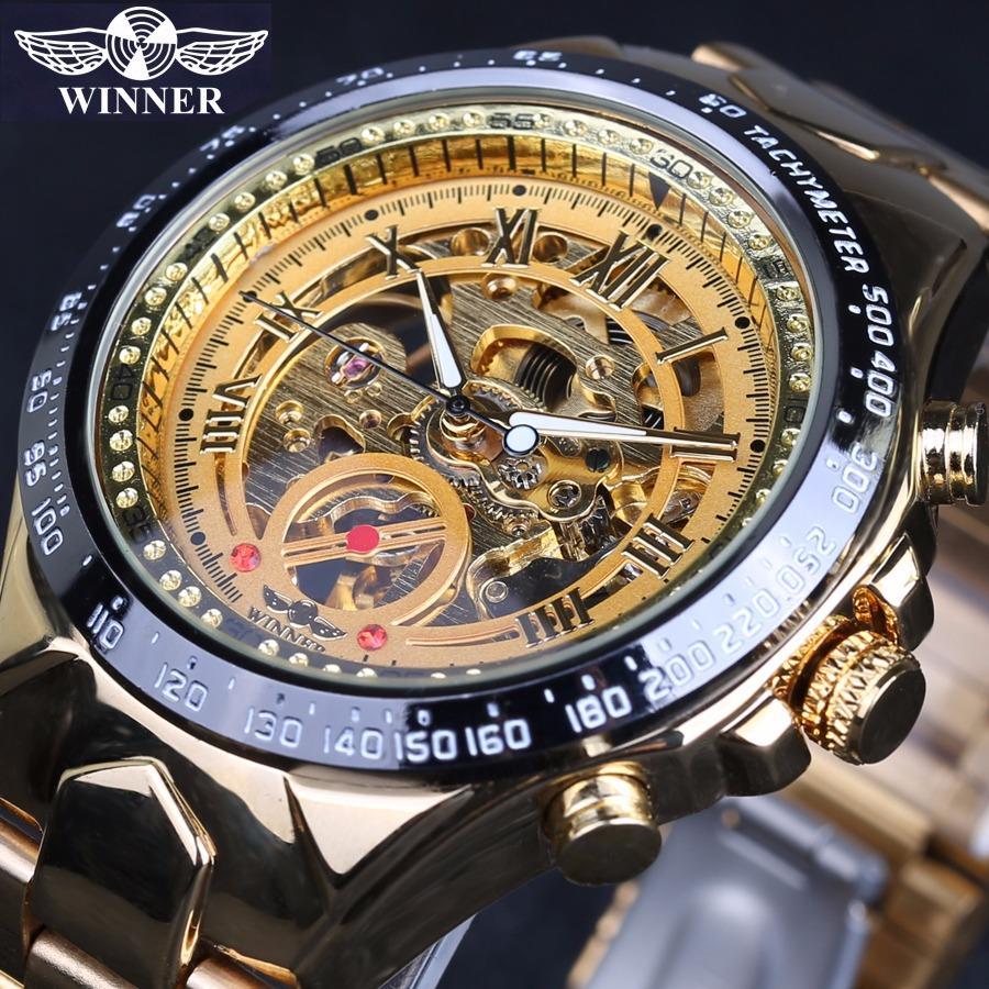 Đồng hồ nam Winner TM432 cơ lộ máy dây thép không gỉ (Full Gold – Vàng)