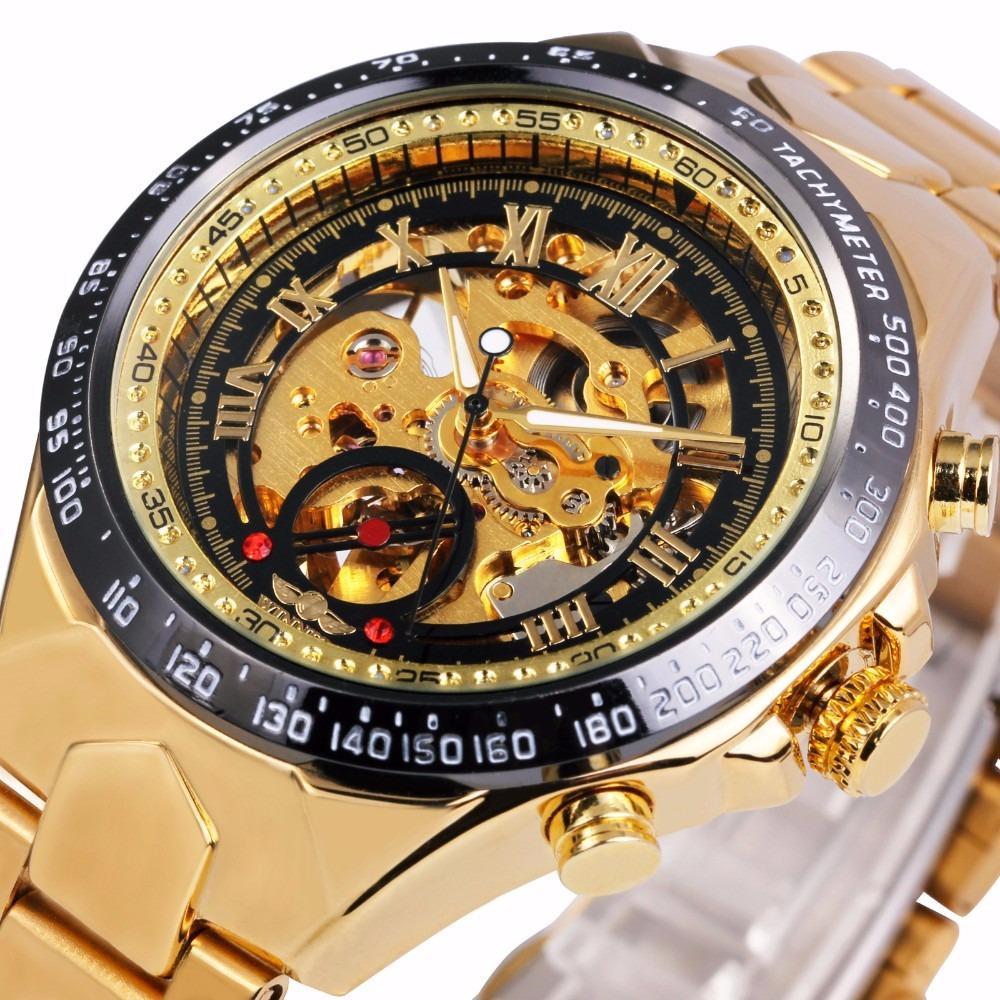 Đồng hồ nam Winner TM432 cơ lộ máy dây thép không gỉ (Full Gold – Đen)