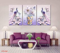 Sale Giá Gốc Khung tranh treo tường phòng khách Chim Công 3D / Tranh bo viền phủ kim sa cao cấp / In UV chống bay màu