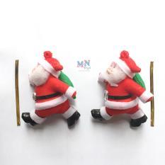 Set 2 ông già Noel cao 9cm trang trí Giáng sinh kèm dây buộc