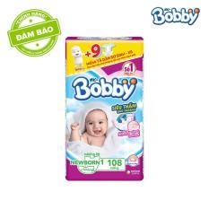 Miếng lót sơ sinh Bobby gói lớn Newborn 1-108 miếng (0-5kg) + Tặng kèm 9 miếng tã dán sơ sinh Bobby size XS