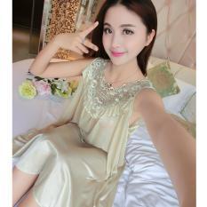 Đầm (Váy) ngủ nữ 2 dây ren cổ quyến rũ chất liệu phi lụa cao cấp mềm mại thoáng mát MDH-SX222