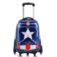 (FREE SHIP TOÀN QUỐC) Ba lô kéo lướt trên mọi địa hình 6 bánh xe Captain America Học sinh tiểu học Tặng áo cặp