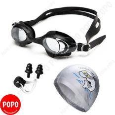 Kính bơi trẻ em 1580, Mũ bơi ngộ nghĩnh, Bịt tai kẹp mũi POPO Collection chống tia UV, chống sương mờ