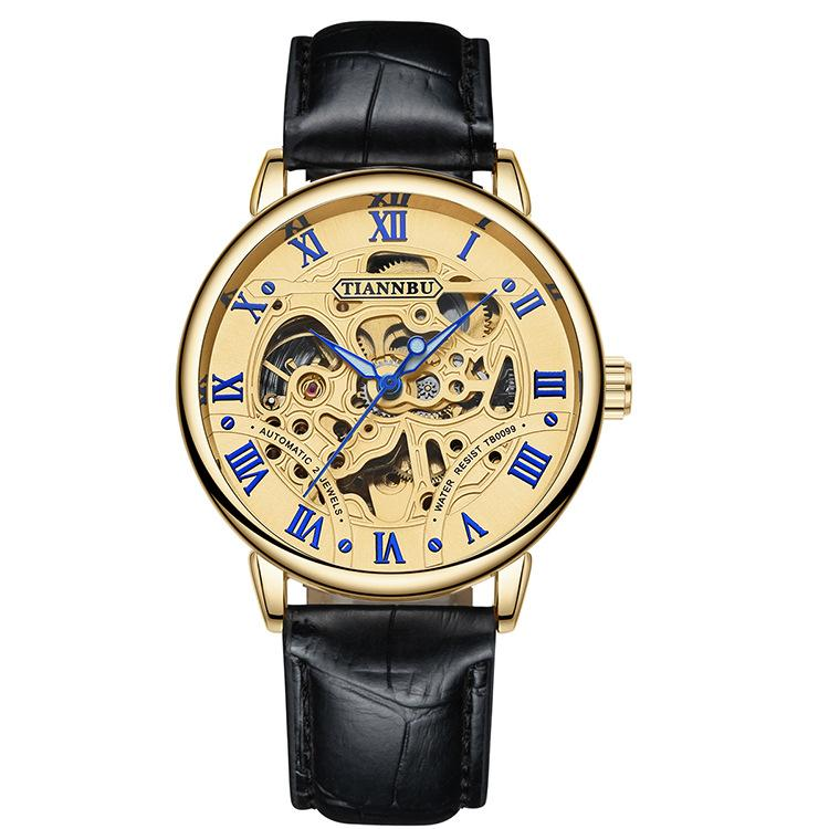 Đồng hồ cơ tự động - lộ cơ (skeleton) nam dây da - mặt vàng Tianbu PKHRTB001