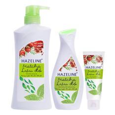 Bộ sản phẩm Hazeline matcha lựu đỏ (Sữa tắm 900g + dưỡng thể 230ml + rửa mặt 100g)