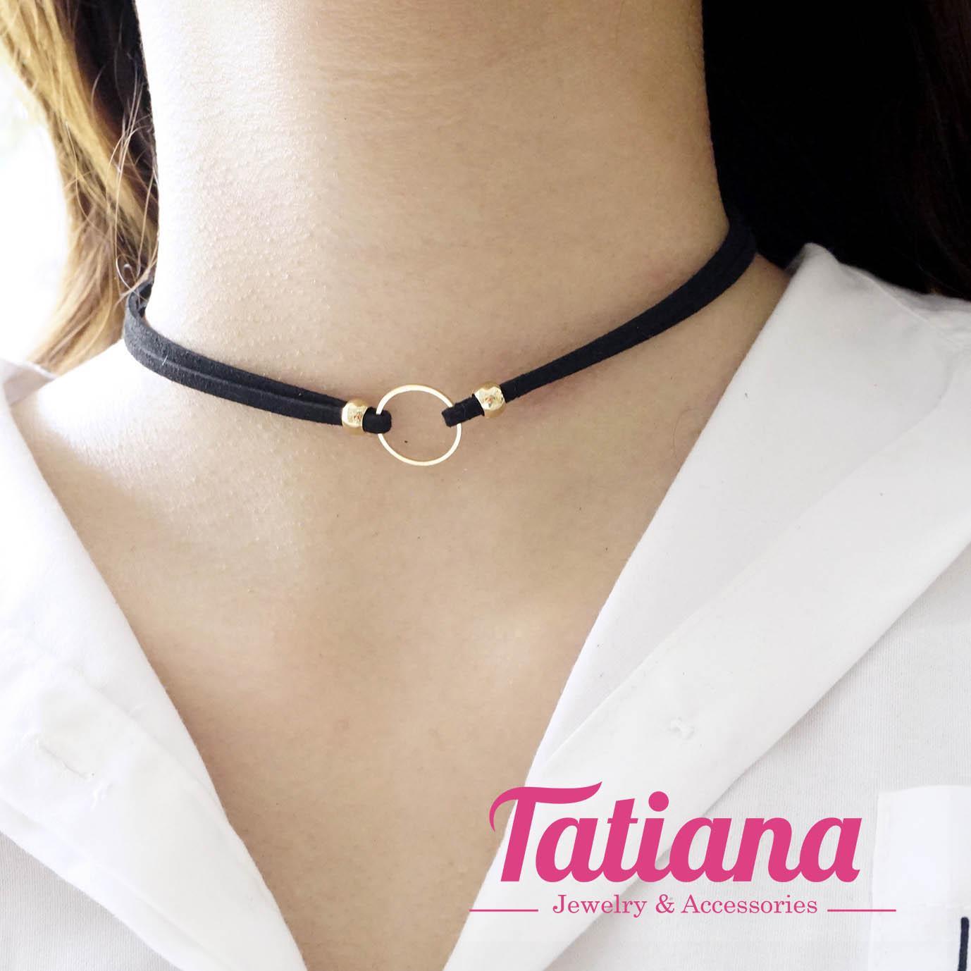 Vòng Cổ Choker Nữ Tròn – Tatiana – D2290 (Vàng)