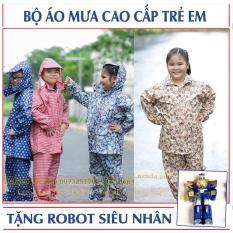Bộ quần áo mưa trẻ em cao cấp: Siêu bền – Siêu nhẹ + Tặng bé robot biến hình (BO.AOMUA.TE)