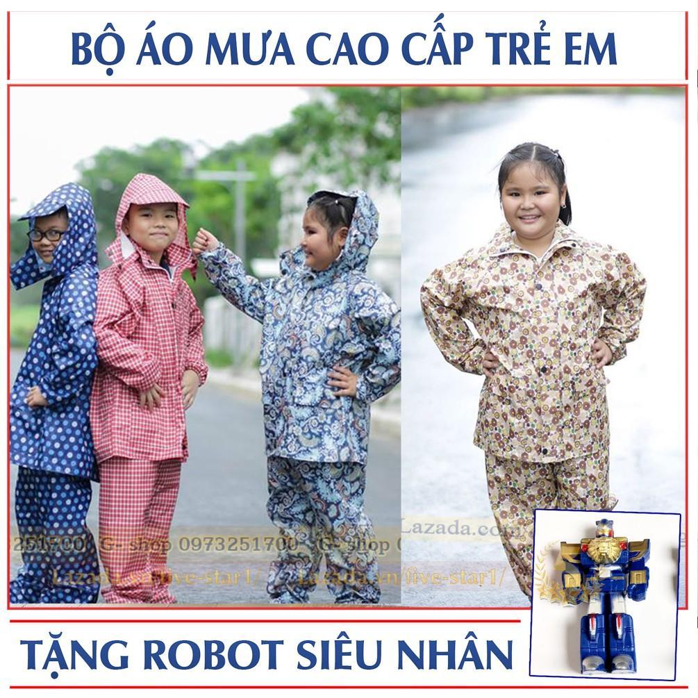 Bộ quần áo mưa trẻ em cao cấp: Siêu bền - Siêu nhẹ + Tặng bé robot biến hình (BO.AOMUA.TE)