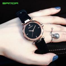 Đồng hồ nữ SANDA JAPAN – Dây da lộn cao cấp Mã máy P218-DH0802 (Màu đen)