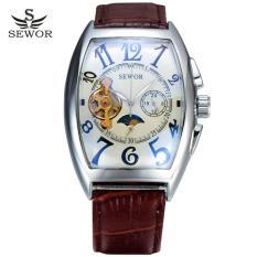 Đồng hồ cơ nam SEWOR dây da lộ máy cổ điển 5 kim viền trắng IW-SE01