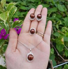 Bộ trang sức Ngọc Trai nước ngọt màu socola
