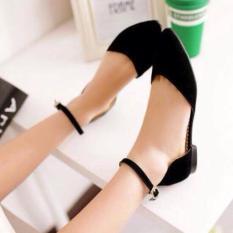 Giày sandal bít mũi nhung -ĐEN