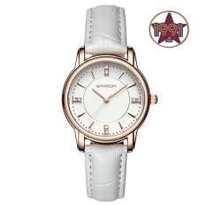 Đồng hồ nữ dây da cao cấp SANDA JAPAN 286 đính đá sang trọng – Dây trắng + Tặng kèm vòng tay thạch anh
