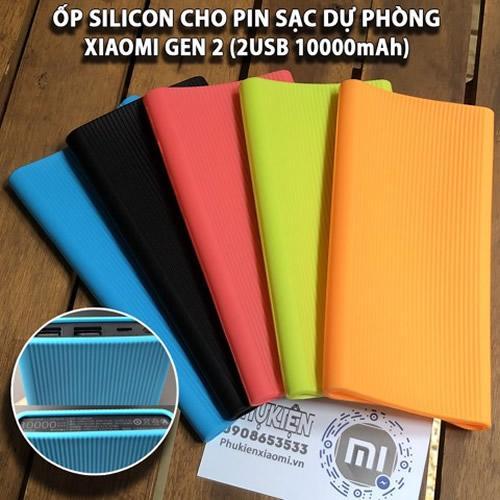 Ốp silicon dành cho Pin Xiaomi 10000mAh Gen Mi 2S- 2USB 2018 (Không kèm pin sạc)