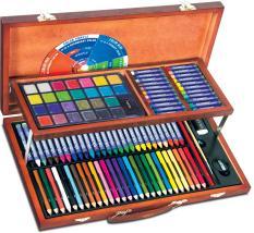 Bộ màu vẽ đa năng hộp gỗ Colormate MS-111W