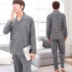 Bộ pijama xám kẻ sọc Hàn Quốc, gam màu diệu nhẹ thanh lịch 208