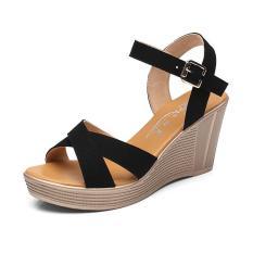 Giày cao gót sandal quai chéo da mềm xuồng 9p