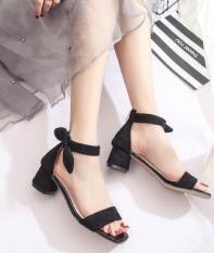[ẢNH CHỤP] Sandal gót vuông 5cm bản đen vòng cổ nơ